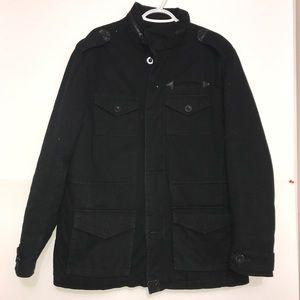 Black Buttoned Light Zip Up Men's Utility Jacket